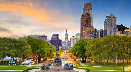 A shot of historic landmarks and portions of downtown Philadelphia