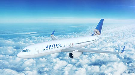 LOS ANGELES/CALIFORNIA - APRIL 8, 2017: United Airlines Boeing 737-800 on approach to runway at Los Angeles International Airport in Los Angeles, California, USA. 3D Illustration  N