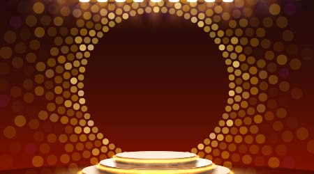 Stage podium with lighting, Stage Podium Scene with for Award Ceremony on golden Background, Vector illustration