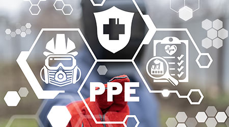 PPE Personal Protective Equipment for Industry Concept.