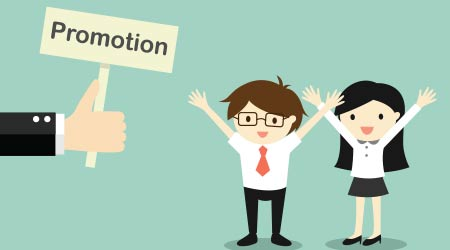 Business concept. Hand offers promotion to businessman and businesswoman. Vector illustration.