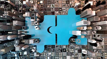 merger and acquisition business concepts, join company on puzzle pieces