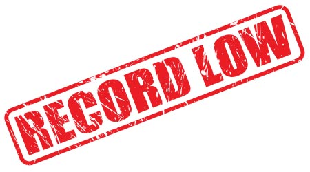RECORD LOW red stamp text on white