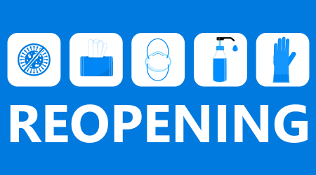 Reopening text vector for shop, marketplaces, grocery, restaurant, cafe. Prevention tips info-graphic for prevention of corona-virus. Simple opening door sign. Re-opening banner for business.