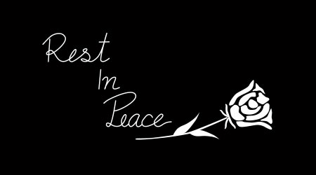 Vector - White wording Rest In Peace (rip) and symbol rose on black background. Simple style. End of life. Can be use for banner, card. Copy space.