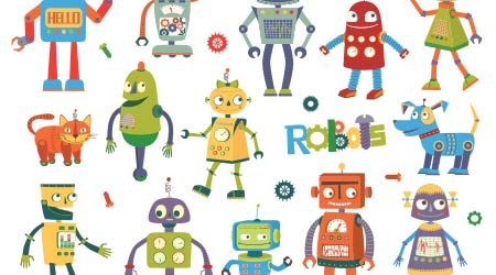 a vector image of several cartoon-style robots