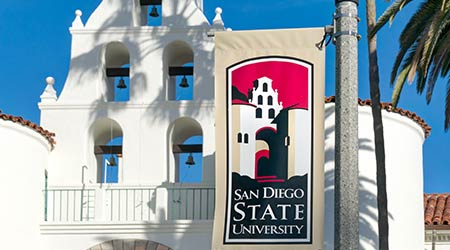 SAN DIEGO, CA/USA - JANUARY 13, 2018: Banner and logo on the campus of San Diego State University. SDSU, San Diego State is a public research university.