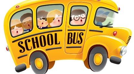 vector image of a bunch of kids on a school bus
