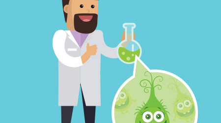 Bacteriologist with bacteria in glass flask vector illustration. Microbiologist makes investigation of germs. Scientist in white gown inspects viruses in flat cartoon style. Frighten bacteria monster