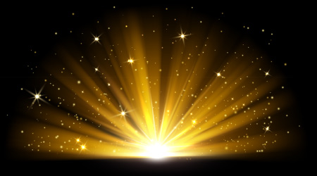 Light effect. Vector shining golden bright light. Gold shine burst with sparkles illustration isolated on black background