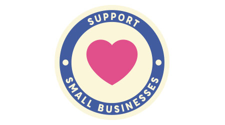 """'Support Small Business"""" Circle Badge Stamp Vector with Pink Heart and Blue and Beige Circles"""