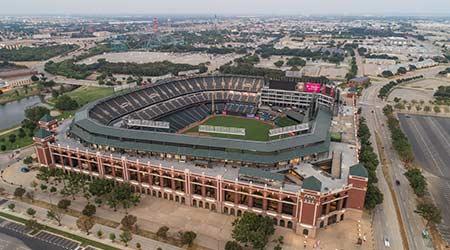 ARLINGTON, TEXAS, USA - AUGUST 1, 2018:Aerial drone image of the Globe Life Stadium in Arlington, Texas