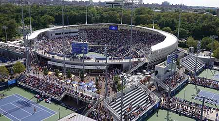 Grandstand Stadium at Billie Jean King National Tennis Center during 2019 US Open match in New York