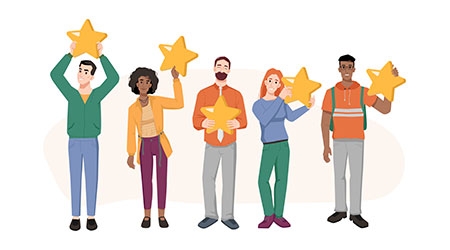 Feedback concept, man and woman holding five stars in hands isolated flat cartoon characters. customers positive rating, clients review, comment on opinion, result or experience, top 5 rate