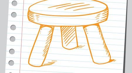 Drawing of a three legged stool
