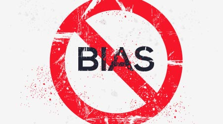 A sign urging people to stop bias