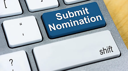 Written word Submit Nomination on blue keyboard button. Online Submission Concept
