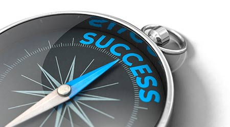 3D illustration. Compass points towards success. Compass with blue needle and blue letters.