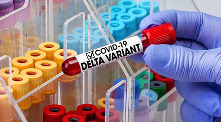 Doctor testing with blood test tube from patient infected with Coronavirus Delta variant. Doctor epidemiologist holding blood tube for test detection of virus Covid-19 Delta Variant with positive resu