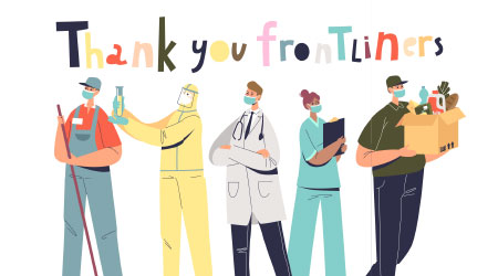 Thank you frontliners: people working during covid pandemic: doctors, nurses, couriers, scientists and janitors. Poster with workers fighting coronavirus disease. Flat vector illustration