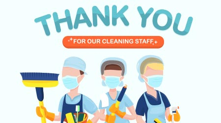 Appreciation for Hospital Cleaning staff, janitor, health care workers services on duty amid corona virus outbreak