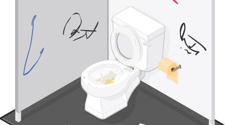 A vector illustration of a dirty public toilet with graffiti on the walls. Pubic Toilet Public restroom that has been vandalized.