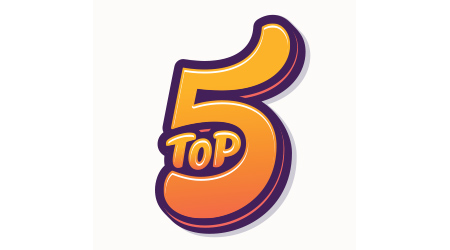 """""""Top 5"""" written in lettering that's playful and colorful"""