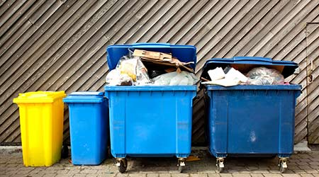 Overfilled trash and recycling bins