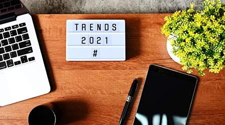 TRENDS 2021 Business Concept,Top view