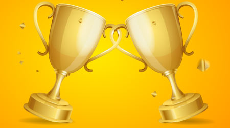 Realistic Detailed 3d Two Gold Cups Set on a Yellow Background. Vector illustration of Golden Cup