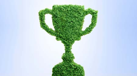 Grass growing in the shape of a trophy cup, symbolising the care and dedication needed for success.