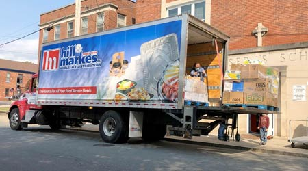 A truck loaded with donated food