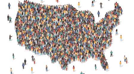 USA map made of many people, large crowd shape.