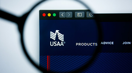 Los Angeles, California, USA - 25 June 2019: Illustrative Editorial of USAA website homepage. USAA logo visible on display screen.