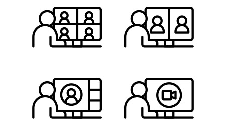 Video call, online video meeting icons set. Line vector. Isolate on white background.