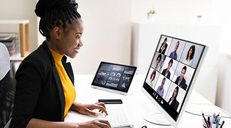 Hosting Video Conference Business Webinar On Computer