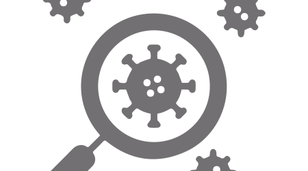 Magnifying glass and coronavirus vector icon. Virus laboratory symbol. Covid 19 lab research. research for medicine. Simple isolated pictogram illustration.