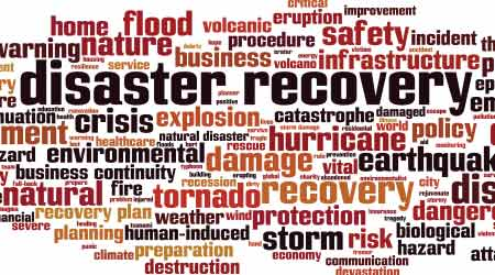 Disaster recovery word cloud concept. Collage made of words about disaster recovery
