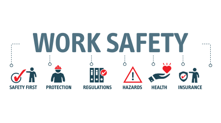 banner concept regarding workplace safety using vector images and text