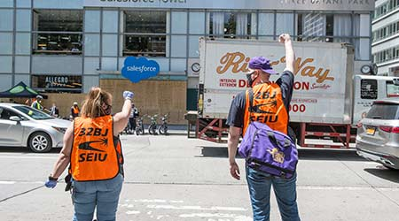 New York, New York / USA - June 16th 2020: 32BJ SEIU Essential Workers Commemorate Justice For Janitors Day and Black Lives Matter