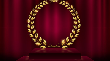 Detailed round golden laurel wreath crown award on velvet red curtain background and stage podium. Gold ring frame logo. Victory, honor achievement, quality product, anniversary. Vector illustration
