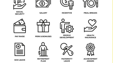 EMPLOYEE BENEFITS LINE ICON SET