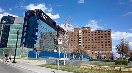 MINNEAPOLIS, MINNESOTA / USA - APRIL 17, 2016: M Health, University of Minnesota, Masonic Children's Hospital buildings.