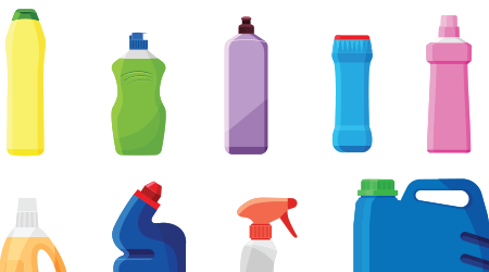 Set of detergent bottles or containers, cleaning supplies, washing powder icon. Vector illustration isolated on white background.