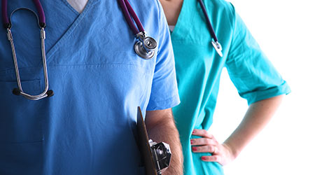 Closeup portrait of a two doctors with stethoscope