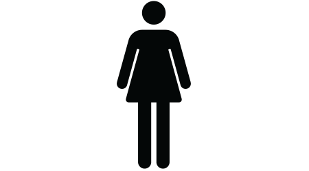 Vector women's restroom sign. White woman icon on blue square background with white border and rounded edges.