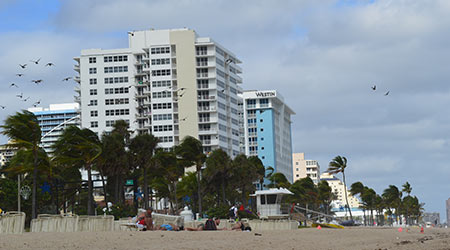 Fort Lauderdale, FL/ USA - December 20 2015: Hotels and Resorts opposite of Fort Lauderdale beach
