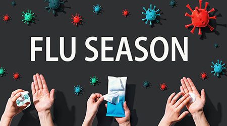 Flu Season Coronavirus theme with hygiene and viral objects