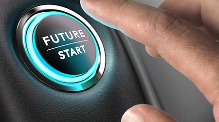 A button suggesting that pushing it will begin the future