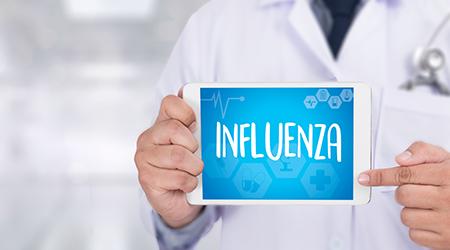 INFLUENZA headache because of influenza virus , Medical Concept , Influenza A virus (H1N1)